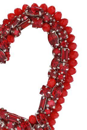 OSCAR DE LA RENTA Gold-tone, cord, bead and crystal clip earrings