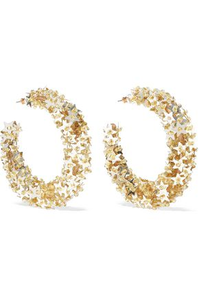 OSCAR DE LA RENTA Embellished gold-tone cord hoop earrings