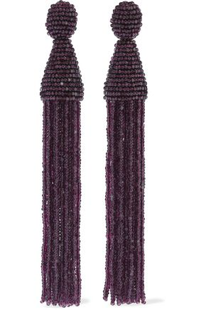 OSCAR DE LA RENTA Beaded tassel clip earrings