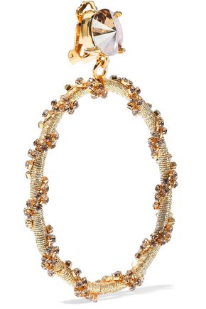 OSCAR DE LA RENTA Silver-tone, cord and crystal clip earrings