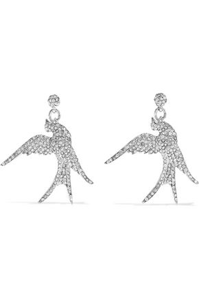 OSCAR DE LA RENTA Silver-tone crystal earrings