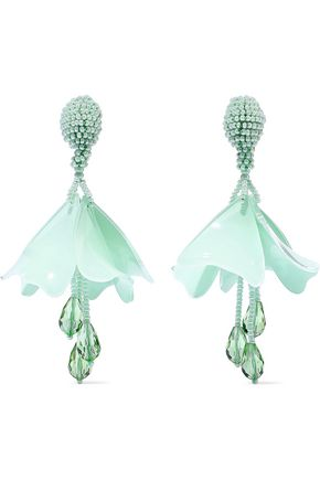 OSCAR DE LA RENTA Resin, crystal and bead clip earrings
