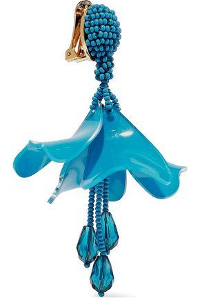 OSCAR DE LA RENTA Resin, crystal and bead clip earrings