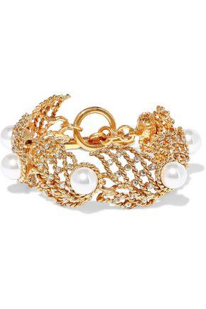 OSCAR DE LA RENTA Gold-tone, faux pearl and crystal bracelet