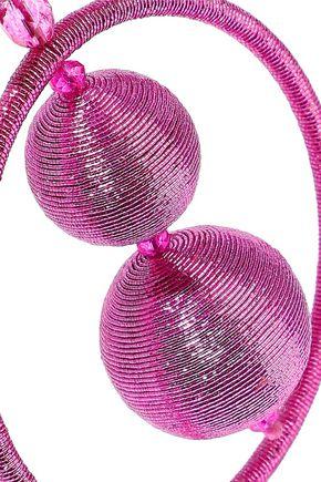 OSCAR DE LA RENTA Bead and metallic cord clip earrings