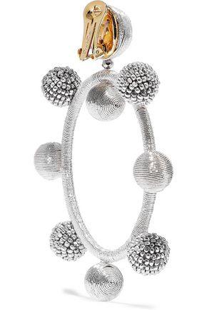 OSCAR DE LA RENTA Gold-tone, cord and bead hoop clip earrings