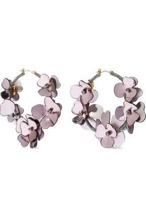 OSCAR DE LA RENTA Silver and gold-tone, cord and resin hoop earrings