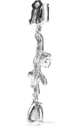 OSCAR DE LA RENTA Silver-tone, crystal and faux pearl clip earrings