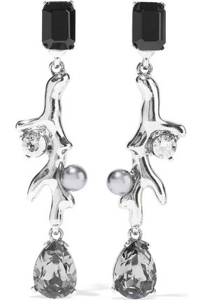 OSCAR DE LA RENTA Silver-tone, crystal and faux pearl clip earrings