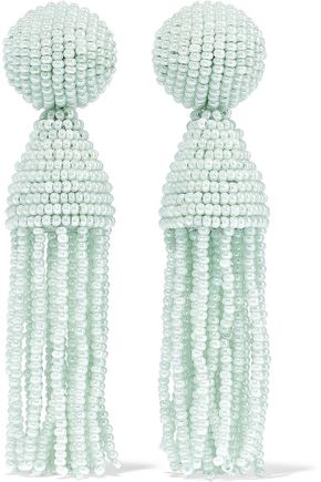 OSCAR DE LA RENTA Gold-tone beaded tassel clip earrings
