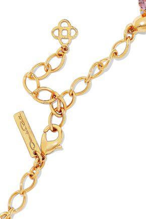 OSCAR DE LA RENTA Gold-tone, crystal and faux pearl necklace