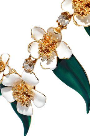 OSCAR DE LA RENTA Gold-tone, enamel and crystal necklace