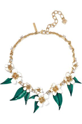 OSCAR DE LA RENTA Gold-tone, enamel and crystal necklace