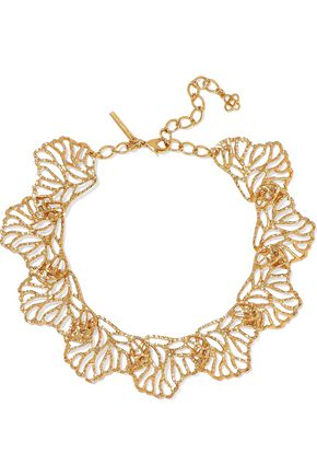 OSCAR DE LA RENTA Hammered gold-tone necklace