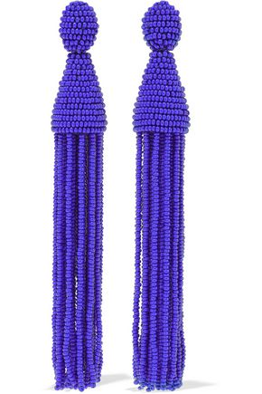 OSCAR DE LA RENTA Beaded tassel clip earrings