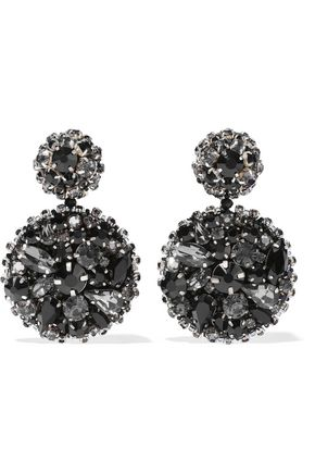 OSCAR DE LA RENTA Silver and gold-tone crystal clip earrings