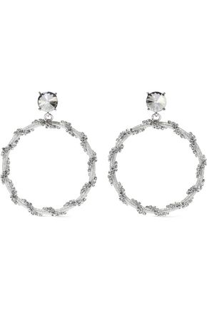 OSCAR DE LA RENTA Silver-tone, cord and crystal clip earrings