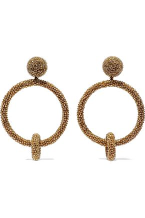 OSCAR DE LA RENTA Beaded hoop clip earrings