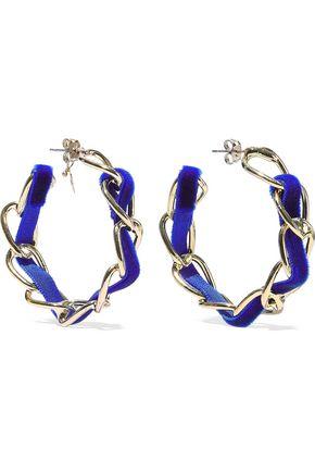 ROSANTICA Mirto gold-tone velvet hoop earrings