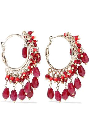 ROSANTICA Curry gold-tone beaded hoop earrings