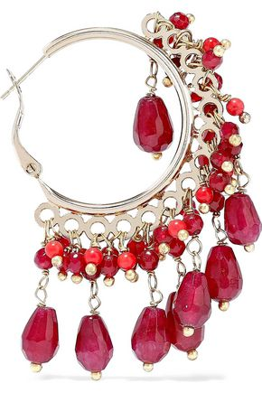 ROSANTICA Curry gold-tone beaded hoop earrings