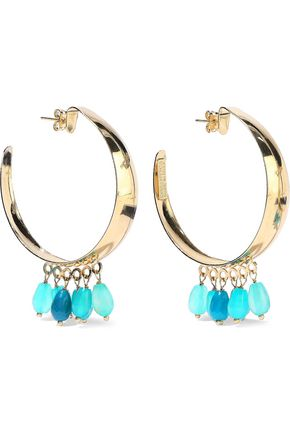 ROSANTICA Gold-tone beaded hoop earrings