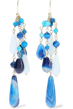 ROSANTICA Menta gold-tone beaded earrings