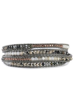 CHAN LUU Sterling silver, cord, bead and stone wrap bracelet