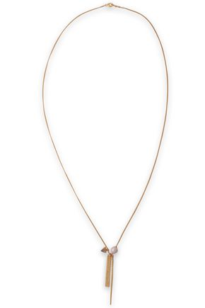 CHAN LUU 18-karat gold-plated, stone and faux pearl necklace