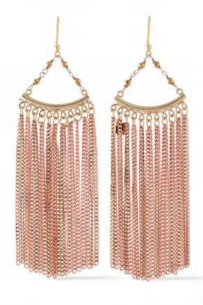 ROSANTICA Fringed gold and rose gold-tone bead earrings