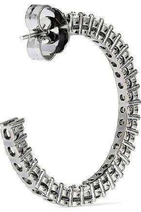 CZ by KENNETH JAY LANE Gunmetal-tone crystal hoop earrings
