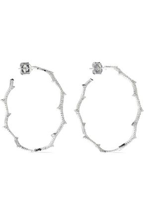 CZ by KENNETH JAY LANE Vine rhodium-plated crystal hoop earrings