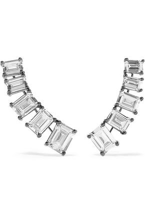 CZ by KENNETH JAY LANE Gunmetal-tone crystal ear cuffs