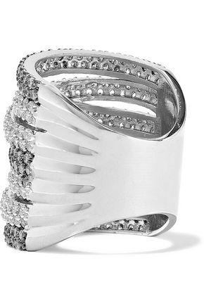 CZ by KENNETH JAY LANE Rhodium-plated crystal ring