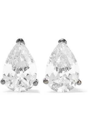 CZ by KENNETH JAY LANE Gunmetal-tone crystal earrings