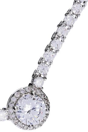 CZ by KENNETH JAY LANE White gold-plated crystal necklace