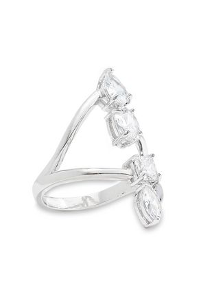 CZ by KENNETH JAY LANE Rhodium-plated crystal ring