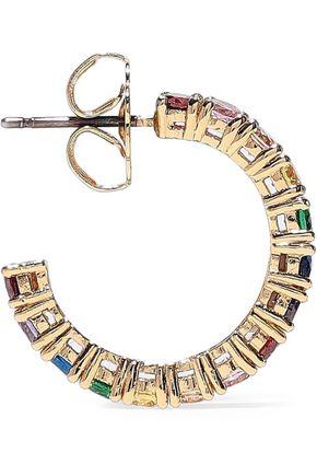 CZ by KENNETH JAY LANE 24-karat gold-plated Swarovski crystal hoop earrings