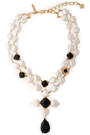 OSCAR DE LA RENTA Gold-tone, faux pearl and crystal necklace