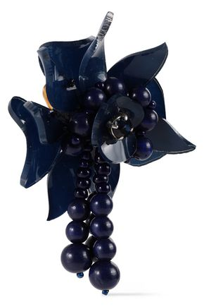 OSCAR DE LA RENTA Acetate, bead and crystal clip earrings