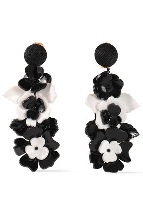 OSCAR DE LA RENTA Floral-appliquéd acetate clip earrings