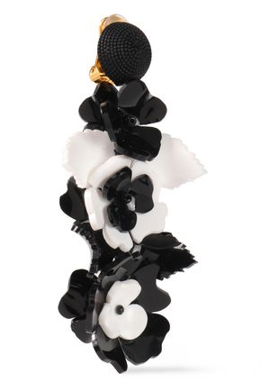 OSCAR DE LA RENTA Floral-appliquéd acetate clip earrings