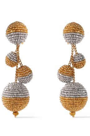 OSCAR DE LA RENTA Gold and silver-tone beaded clip earrings