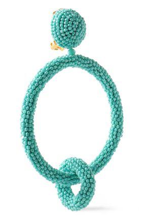 OSCAR DE LA RENTA Beaded hoop clip earrings