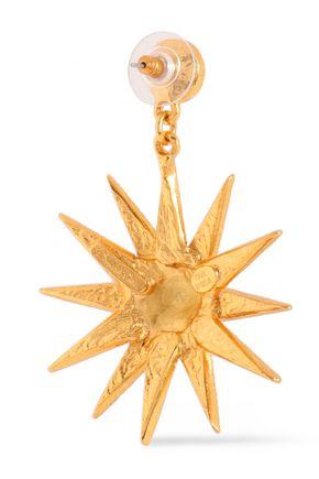OSCAR DE LA RENTA Gold-tone crystal earrings