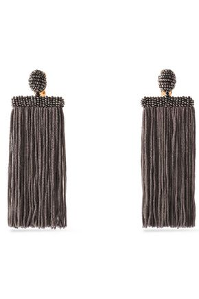 OSCAR DE LA RENTA Gunmetal-tone, fringed and beaded clip earrings