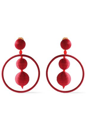 OSCAR DE LA RENTA Beaded cotton hoop clip earrings