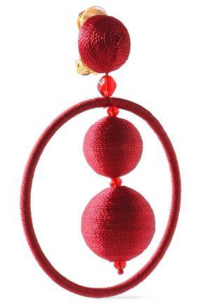 OSCAR DE LA RENTA Beaded cotton hoop clip earrings