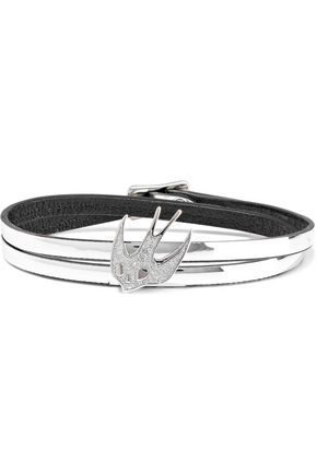 McQ Alexander McQueen Swallow appliquéd mirrored-leather wrap bracelet