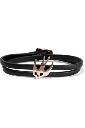 McQ Alexander McQueen Swallow appliquéd leather wrap bracelet